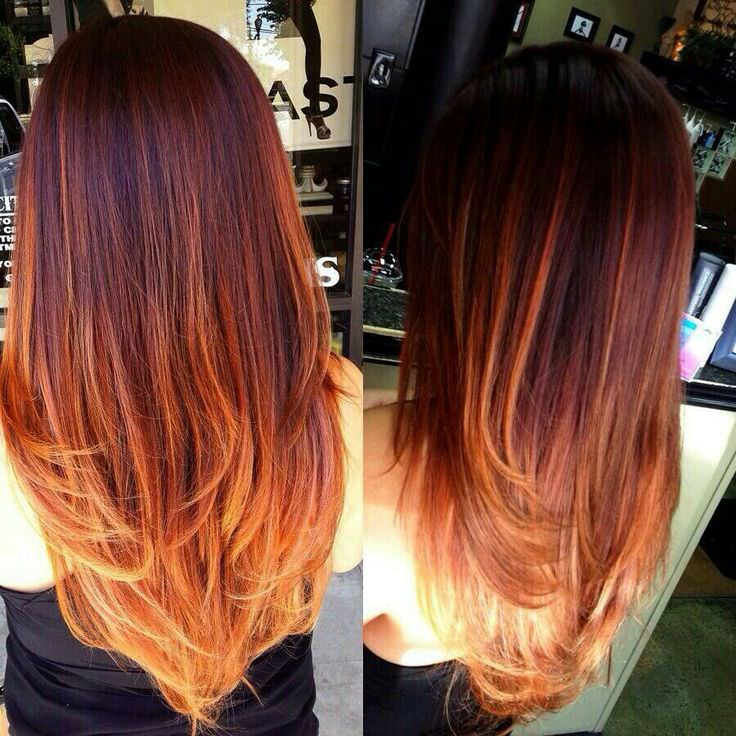 Light brown to orange ombre