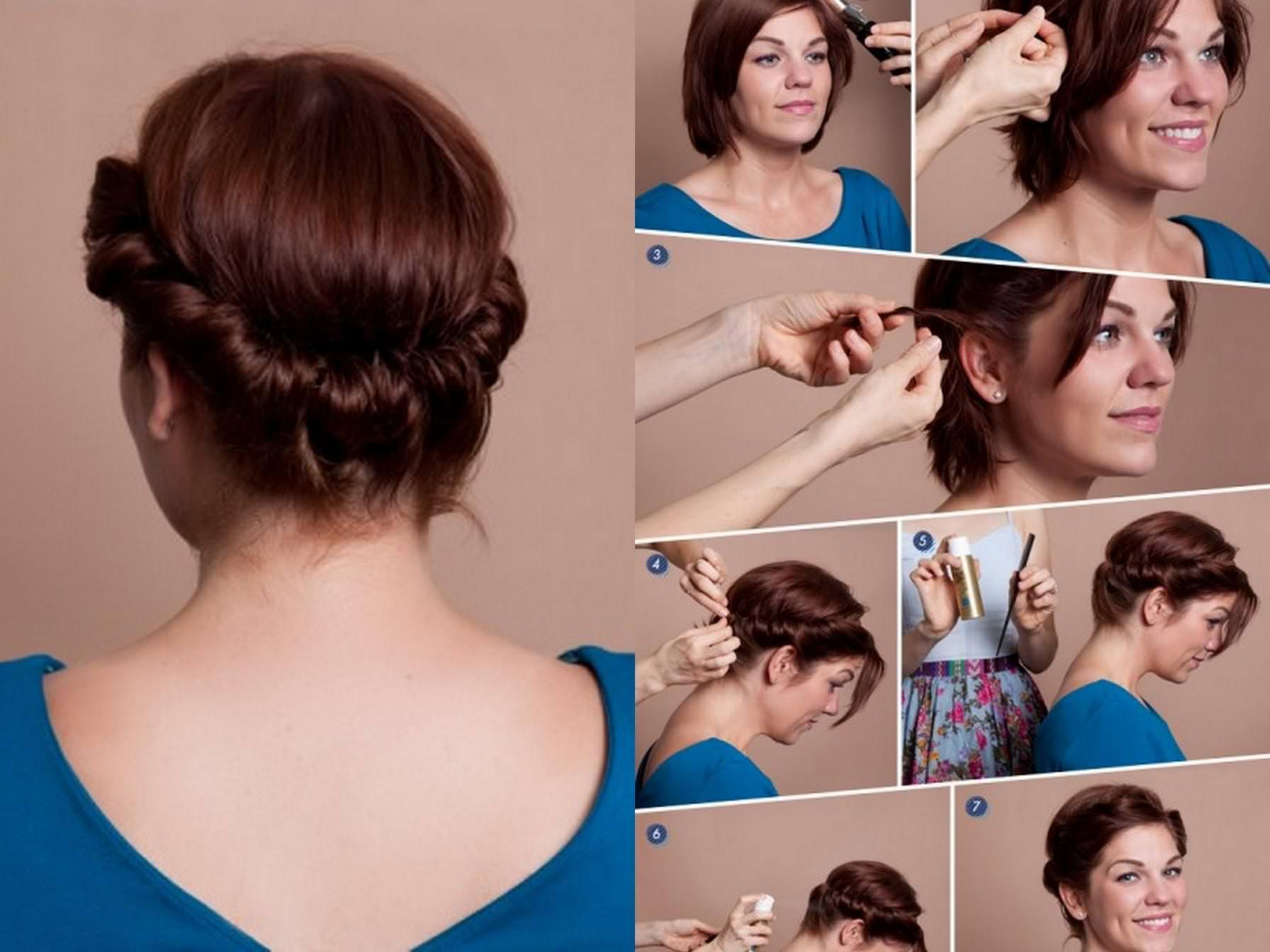 Прическа дома своими руками на короткие волосы фото