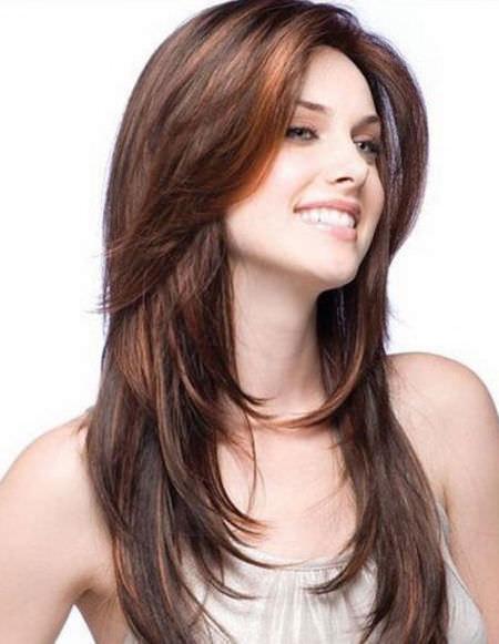 Каскад на длинные волосы без челки