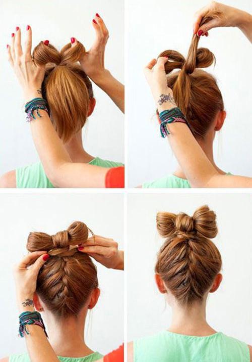 Как сделать бантик из волос на средние волосы