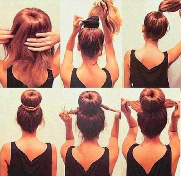 Как сделать пучок на голове если длинные волосы