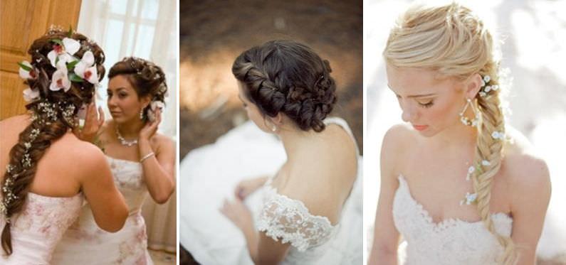 Свадебная прическа французская коса на бок