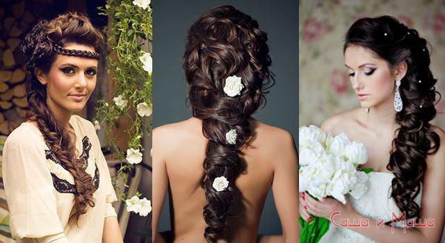 прическа к греческому свадебному платью
