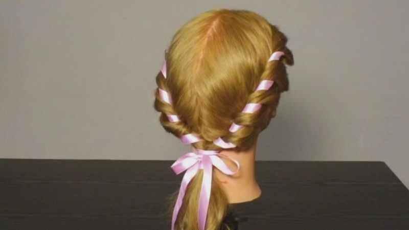 Плетение лентой на короткие волосы