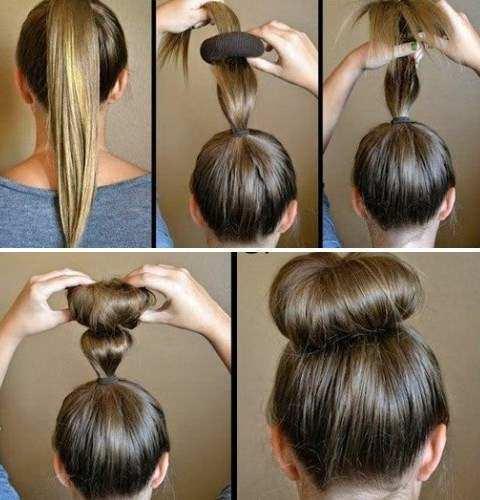 Объемный пучок из волос