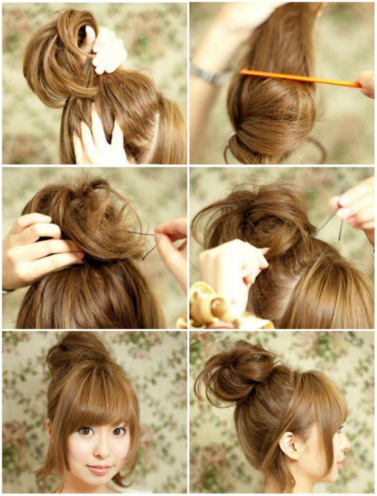 Как сделать объемную гульку из волос фото 355