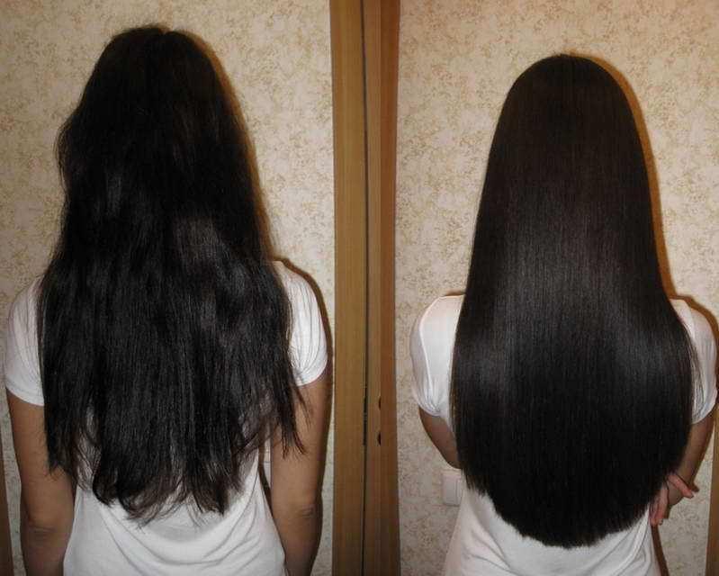 Расческа-выпрямитель для волос - до и после применения