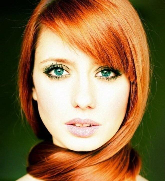 Цвет волос для зеленых глаз разного типа